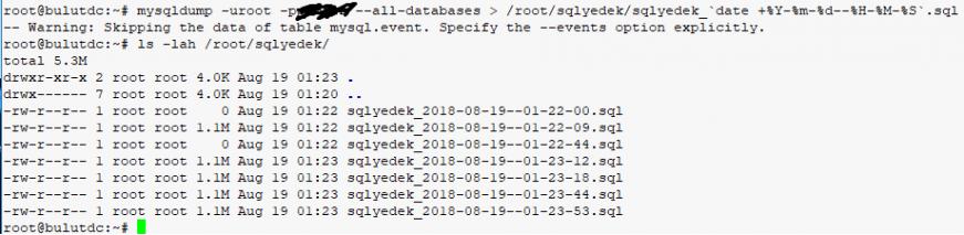 mysqldump ile veritabanı yedekleme
